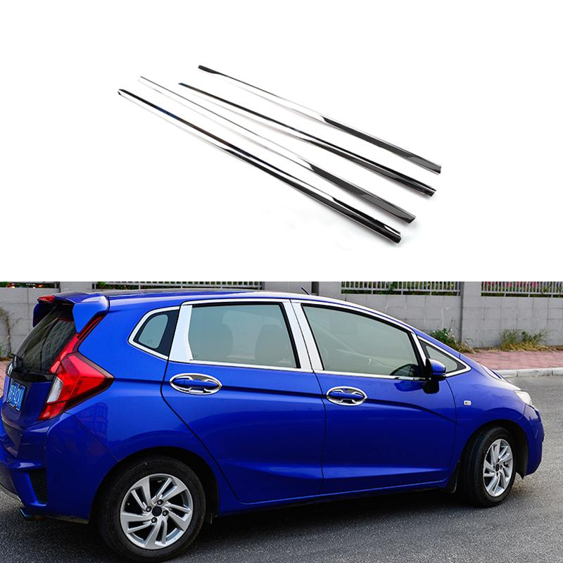 Full Window Trim Decoration Strips Stainless Steel Car Styling Accessories For Honda Fit JAZZ 2013 2014 2015 OEM-14-20(China (Mainland))