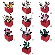 Professional 10pcs New Fashion beauty Products Lady Cosmetic Brushes Tool with Crocodile Grain Storage Box Makeup Brushes Sets(China (Mainland))