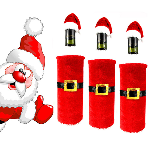 Hot Sale Red Wine Bottle Santa Claus Clothes Cap Suit Cover Christmas Table Home Decor 7JKP(China (Mainland))