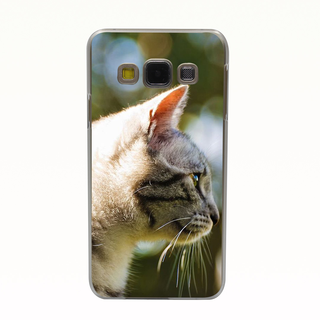 1098T Cat Looking In The Distance Style Transparent Hard Back Cover for Galaxy A3 A5 A7 A8 J5 J7 Note 2 3 4 5 Grand 2 & Prime(China (Mainland))