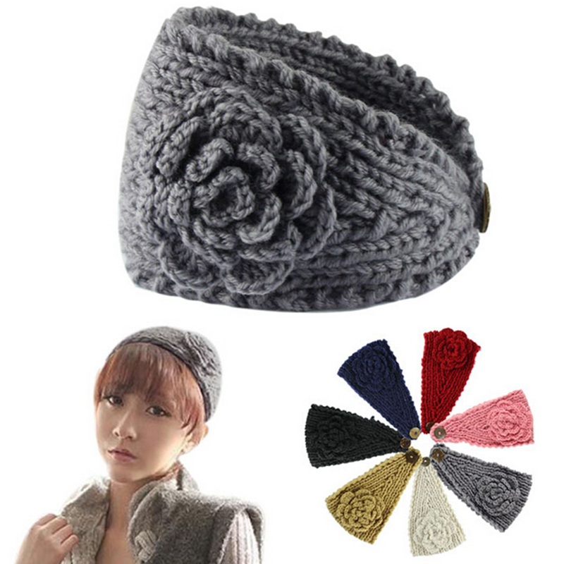 Crochet Headband Knit Hairband Flower Winter Women Ear Warmer Headwrap 5Colors Fashion Graceful Hair Accessory Free Shipping(China (Mainland))