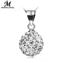 Buy Vintage Women 10mm ball Full Crystal Shamballa Necklace Pendant Party Silver Plated Jewelry High Girl Charm Design for $1.27 in AliExpress store