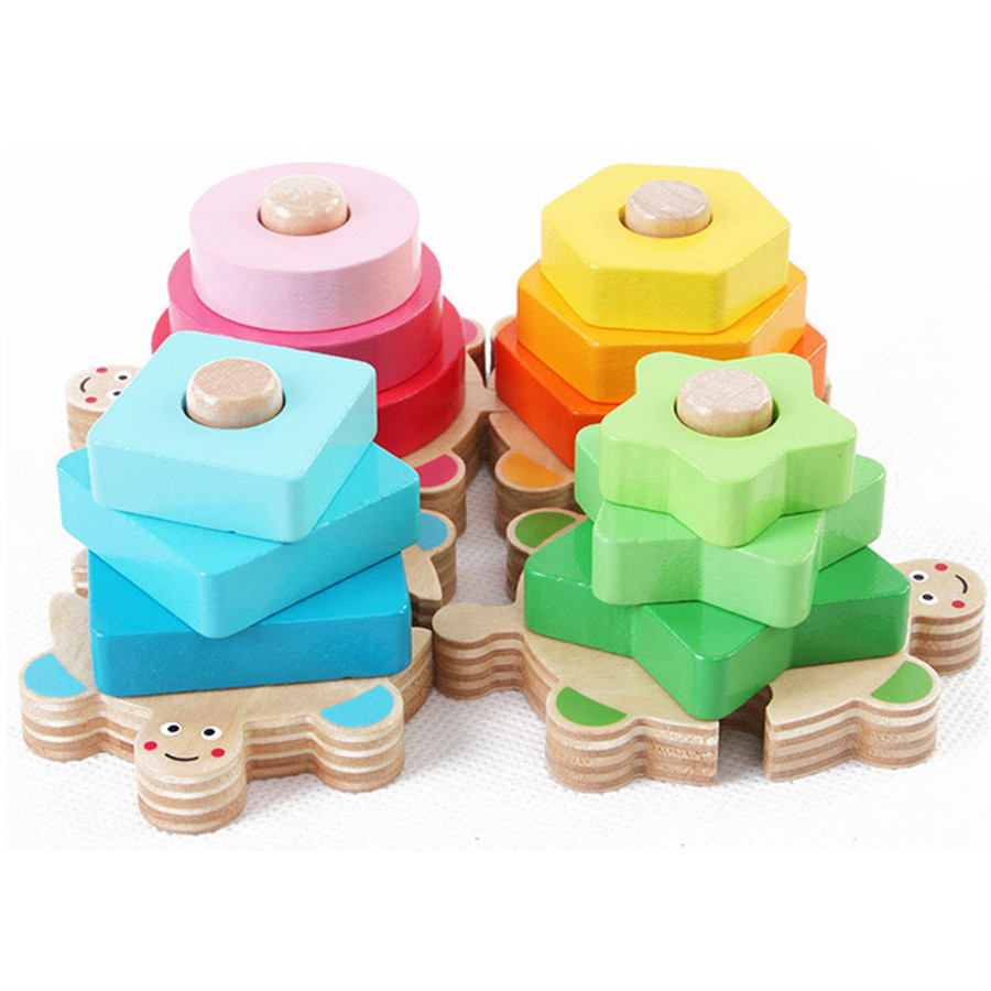 Four column set Wooden Toys for children baby geometry matching toy children wooden building blocks assembly toys CU136(China (Mainland))