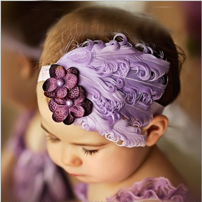 1pcs Purple Infant Baby Headband Cute Hair Accessories Feather Hair Band Baby Girl Flower Elestic Hariband(China (Mainland))
