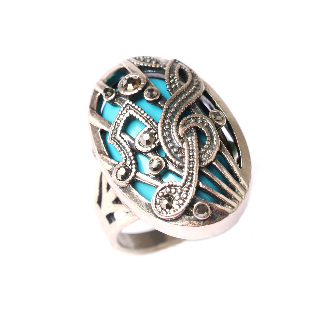 Wholesale Vintage Turquoise Retro Silver Rings Music Note Classical Style Palace Christmas Gift Round Ring(China (Mainland))