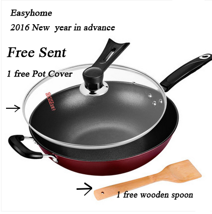 Free shipping 32CM non-stick cookware, non smoke & oil pot suitable for induction cooker wok,gas cooker kitchen pots and pans(China (Mainland))