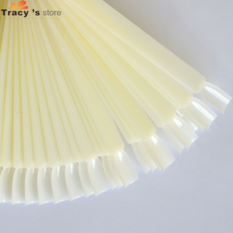 50tips Fan Board Practice Display Nail Art Colors Chart Clear/Natural Stick False Nails Tips Nail Art Display Tools y_NC200
