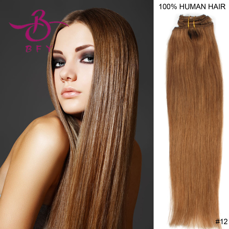 24inch-60cm Clip on Indian human remy hair extension #12 Light brown color 110gram<br><br>Aliexpress