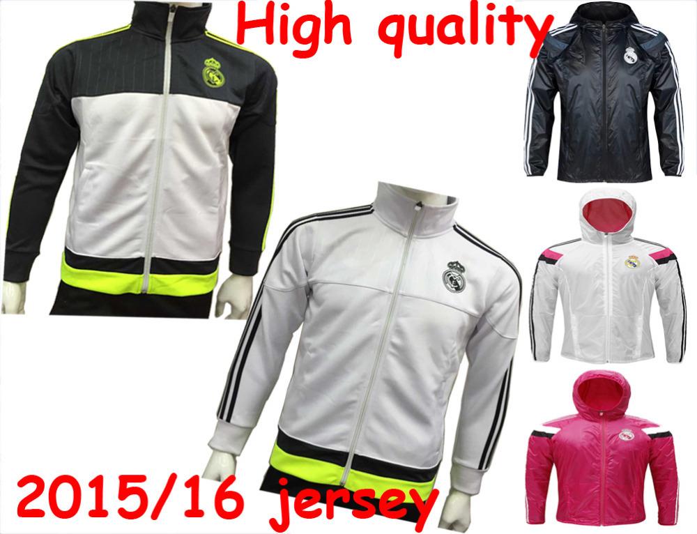 15/16 Chandal real madrid 2016 Anthem Jacket Survetement Equipacion de Futbol 2015 jersey tracksuit Training AC Milan Jacket(China (Mainland))