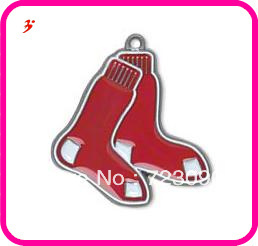 Free shipping 10pcs a lot classic red enamel single-sided Boston Red Sox Charm  jewelry