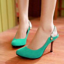 New fashionable women's shoes high heels korean shoes for women pointed toe ladies wedding shoes summer heels big size 34-47(China (Mainland))