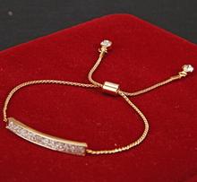 Japan Korea Style Fashion Simple Full Stone Gold Bracelet For Gilrs(China (Mainland))