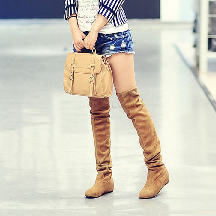 Plus Size 39-42 New 2015 Spring Autumn Thigh High Boots Women Motorcycle Boots Two Way Wear High Women Boots US50(China (Mainland))