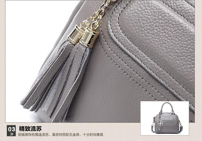 New Arrival High Grade Genuine Cowhide Leather Leisure Women Messenger Bag Tassel Ladies Shoulder Bag Handbag Bolsos