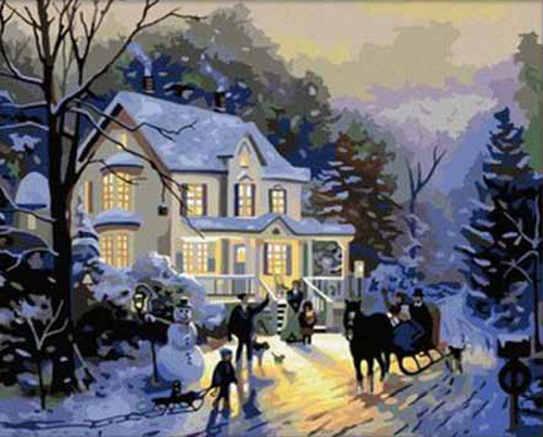 Frameless picture DIY new arrival diy digital oil painting abstract 40 50 paint by number kits Winter romance(China (Mainland))