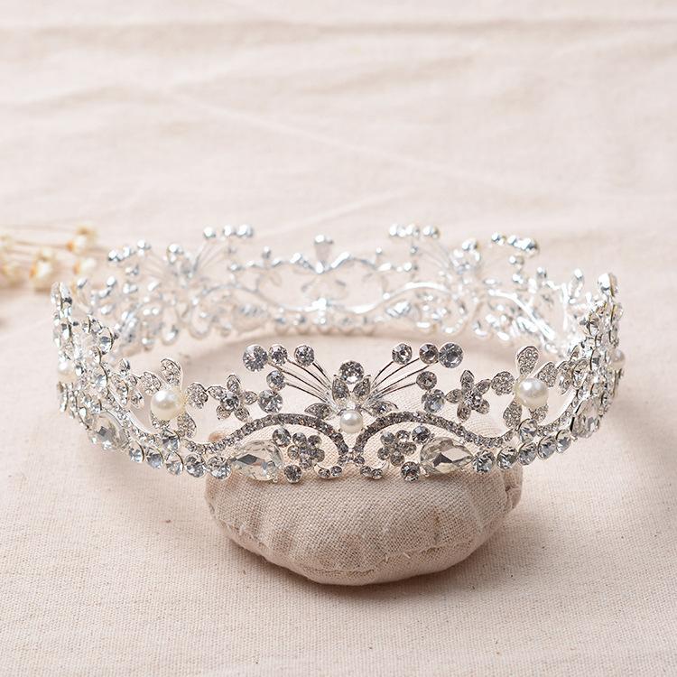 تيجان ملكية  امبراطورية فاخرة Elegant-Alloy-Rhinestones-Crystals-Pearls-Full-Round-Wedding-Tiara-Bridal-Princess-Queen-Pageant-font-b-Royal