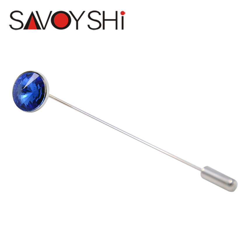 SAVOYSHI Brand Jewelry Men Lapel Pin Brooches Blue Crystal Pins Fine Gift for Men Brooches Collar Party Engagement Jewelry(China (Mainland))