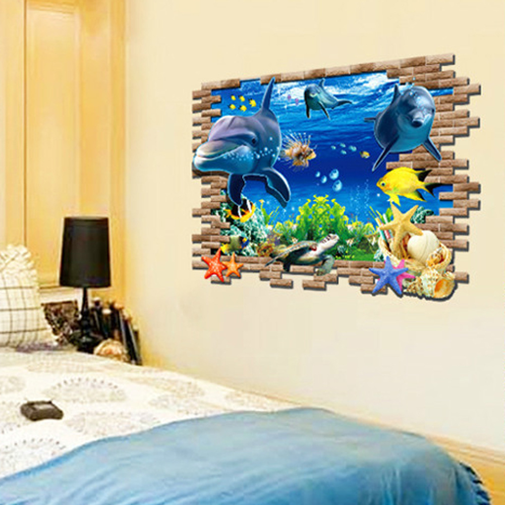 Free shipping removable wall sticker large wall stickers 3D effect living room bedroom decor pictures underwater world(China (Mainland))