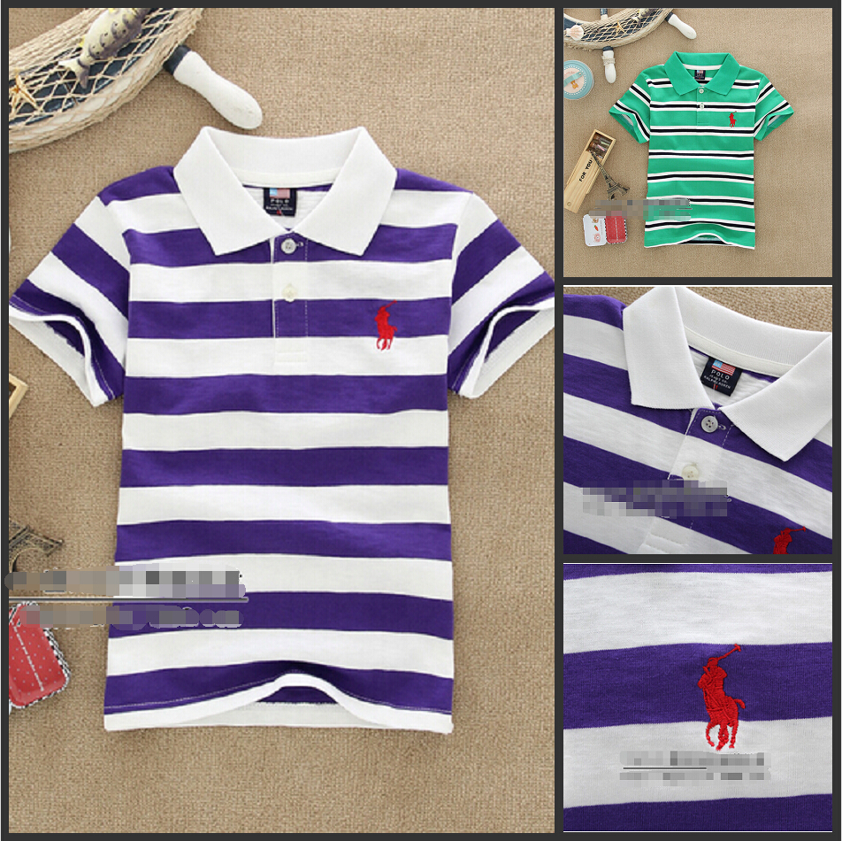 2015 new baby boy summer Lapel stripes Cotton short-sleeve T-shirt 2-7 years old cotton T-shirt(China (Mainland))