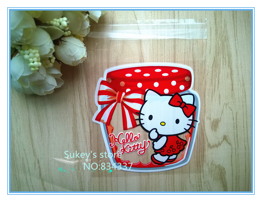 100pcs/lot New product 2size Hello kitty cookie plastic packaging bags 10x10cm self adhesive bags free shipping(China (Mainland))