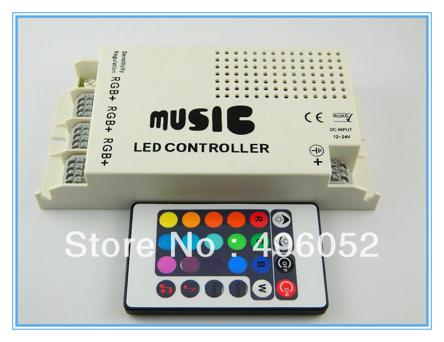 10set/lotNEW DC12V 144W common anode rgb led strip remote controllerS IR two strip 24key RGB music controller(China (Mainland))