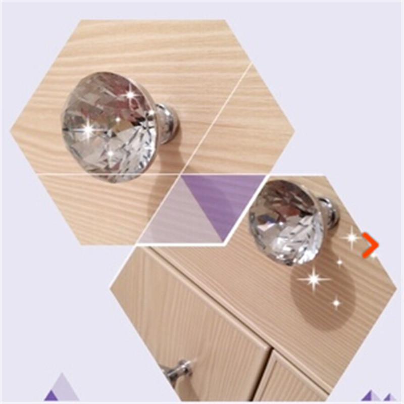 10pcs/lot Clear Glass Crystal Handles Bedroom Furniture Kitchen Drawer Dresser Door Cabinet Knobs Pulls(China (Mainland))