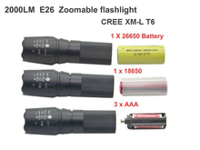 Led Flashlight E26 L2 T6 Cree XM L2 Zoom Outdoor Hiking Cycling Hunting Light 3800 lumens Use 26650 18650 Without battery (China (Mainland))
