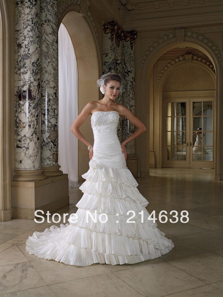 Modest Ruffle Wedding Dresses : New fashion elegant modest bridal mermaid beading