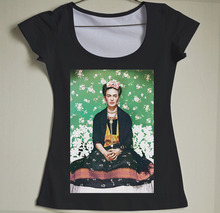 New Arrival Fashion women frida kahlo print t shirt funny Personalized t shirts Short Sleeve round Neck Sexy low-cut tshirt(China (Mainland))
