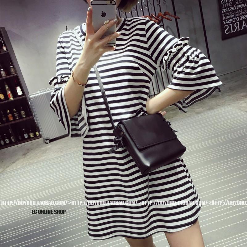 Free Shipping 2016 Summer Flare Sleeve Women Dress Korea Style Striped Loose Dresses Vestidos(China (Mainland))