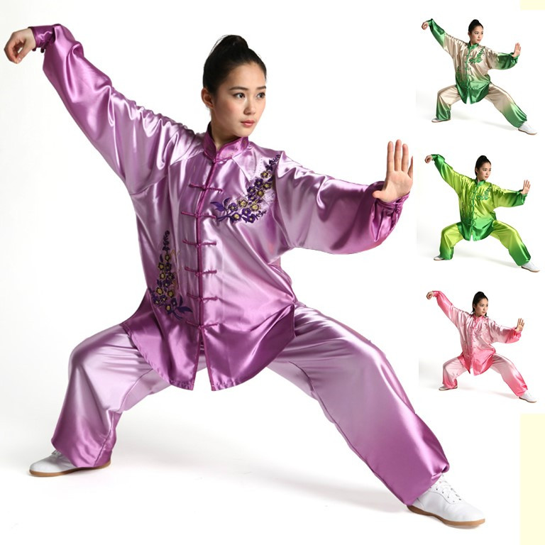 Фотография female Wushu Tai chi clothing embroidery silk clothes graded Taijiquan embroidered costumes spring Kungfu Clothing