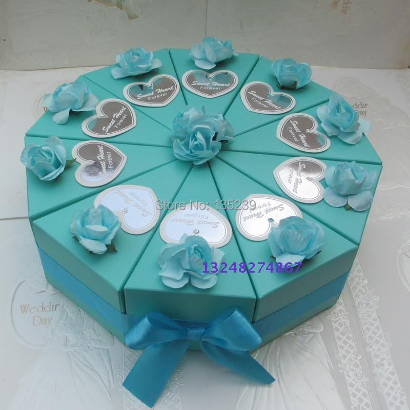 WEDDING CAKE SLICE CENTERPIECE CANDY BOX FAVOR BOXES WEDDING FAVORS
