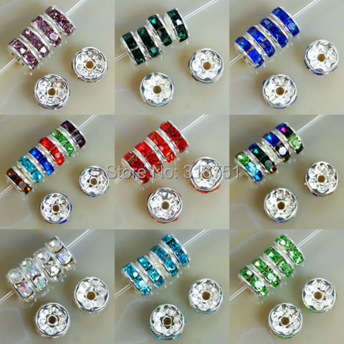 "8mm Metal Silver Plated Crystal Rhinestone Rondelle Spacer Beads 11colors Choose 10 (w03270-w03281) - ""beads love""No minimum order store"