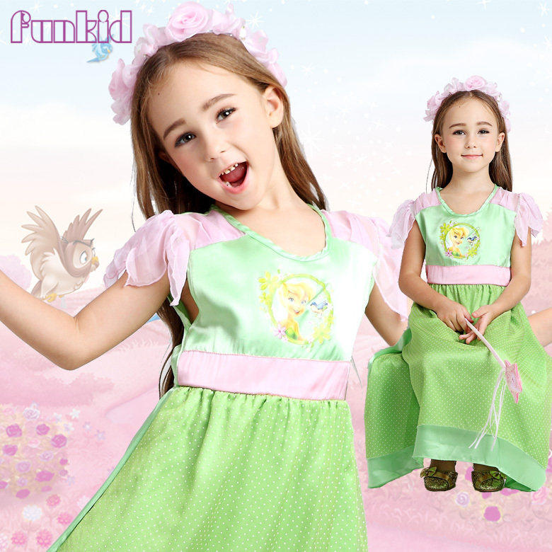 2015 NEW STYLE HOT SELL tionkerbelle PRINCESS FANCY DRESS KIDS COSTUME PARTY DRESS(China (Mainland))