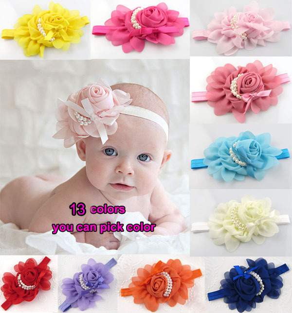 Baby Girl Flower Mini Headband Pearl Hearwear Hair Band - Change World store