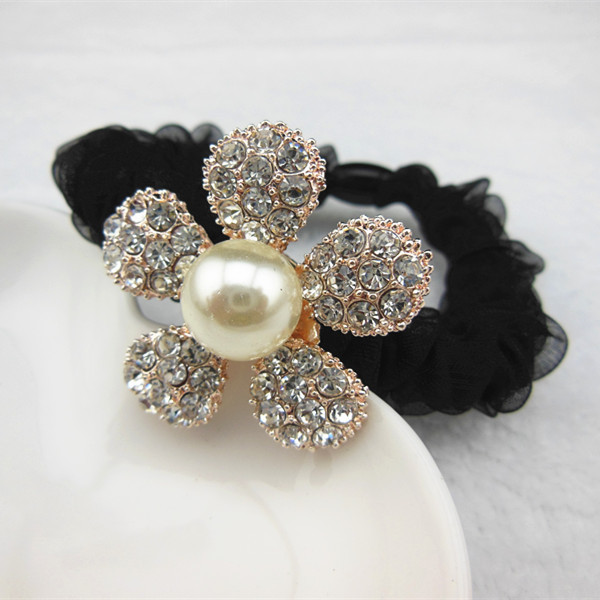 Fashion 2Pcs/Set Women Head Rope 5 Silver Flowes And Jewelry Accessories Rubber Headdress Flower Hair(China (Mainland))