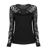 Buy Women Lace Long Sleeve Shirt Ladies Sexy O-Neck Clothing Stretch T-Shirt Tops Cheap Price for $4.21 in AliExpress store
