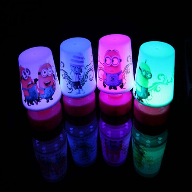 7 Colors Charging Despicable Me Minions Night Light 3 Aaa Battery Operated Led Table Lamp For