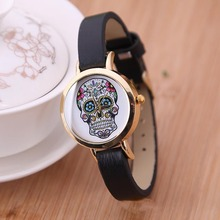 New Fashion Quartz Watches for Ladies Gift Wristwatches Cartoon Skull Girls Watch Leather Band Sports Casual Wristwatch