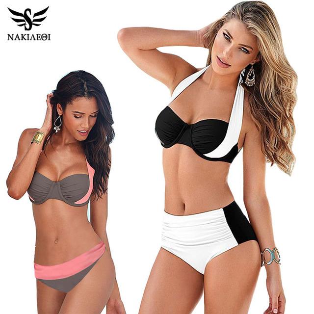 2016 новый сексуальный бикини женщин купальник высокой талией плавать короткий топ росту комплект бикини пляж Большой размер купальники XXL