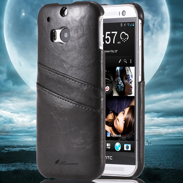 For HTC M8 Grease Glazed Leather Hard Back Cover For HTC One M8 With Card Holder Luxury Phone Cover Fashion Retro Brand Logo M8(China (Mainland))