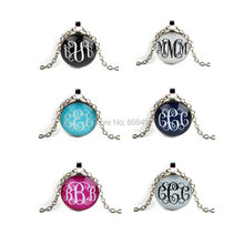 6PCS Cabochon Pendant Necklace Letter Writing Silver Plated Chain Necklace Jewelry for women Gift 2016(China (Mainland))