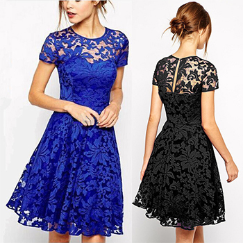 2015 New Fashion Sexy Women Dress Summer Spring Casual Cocktail Party Dresses Woman Vestido Blue&black Lace Dress Free Shipping(China (Mainland))