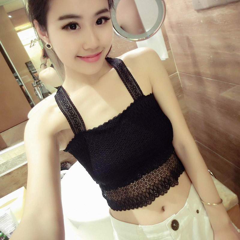 2015 New Lace Bottoming Tank Tops High Quality Solid Color Halter Women Sexy Short Tube Tops Free Shipping New Arrive Hot Sale(China (Mainland))