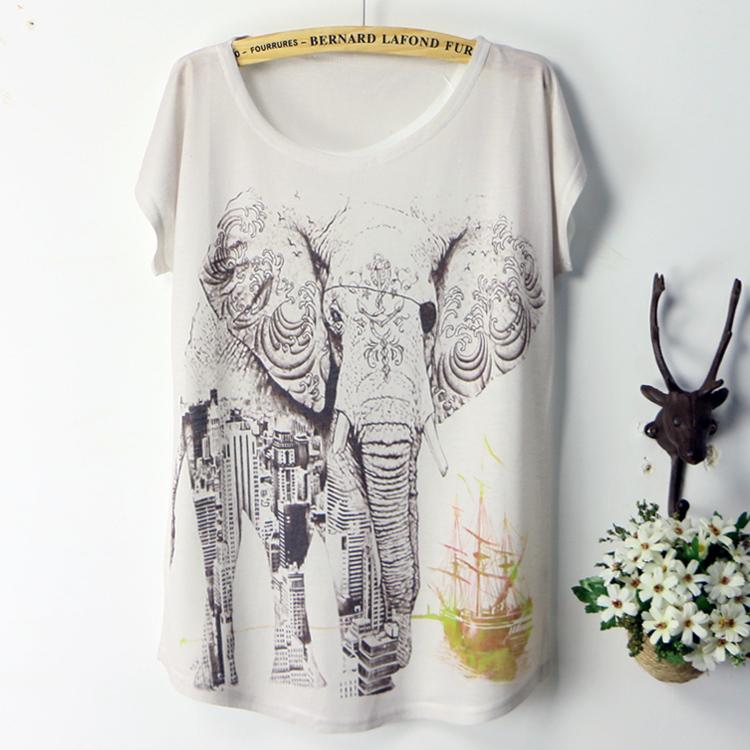 2015 fashion summer style tshirt women 39 s t shirt elephant for Elephant t shirt women s