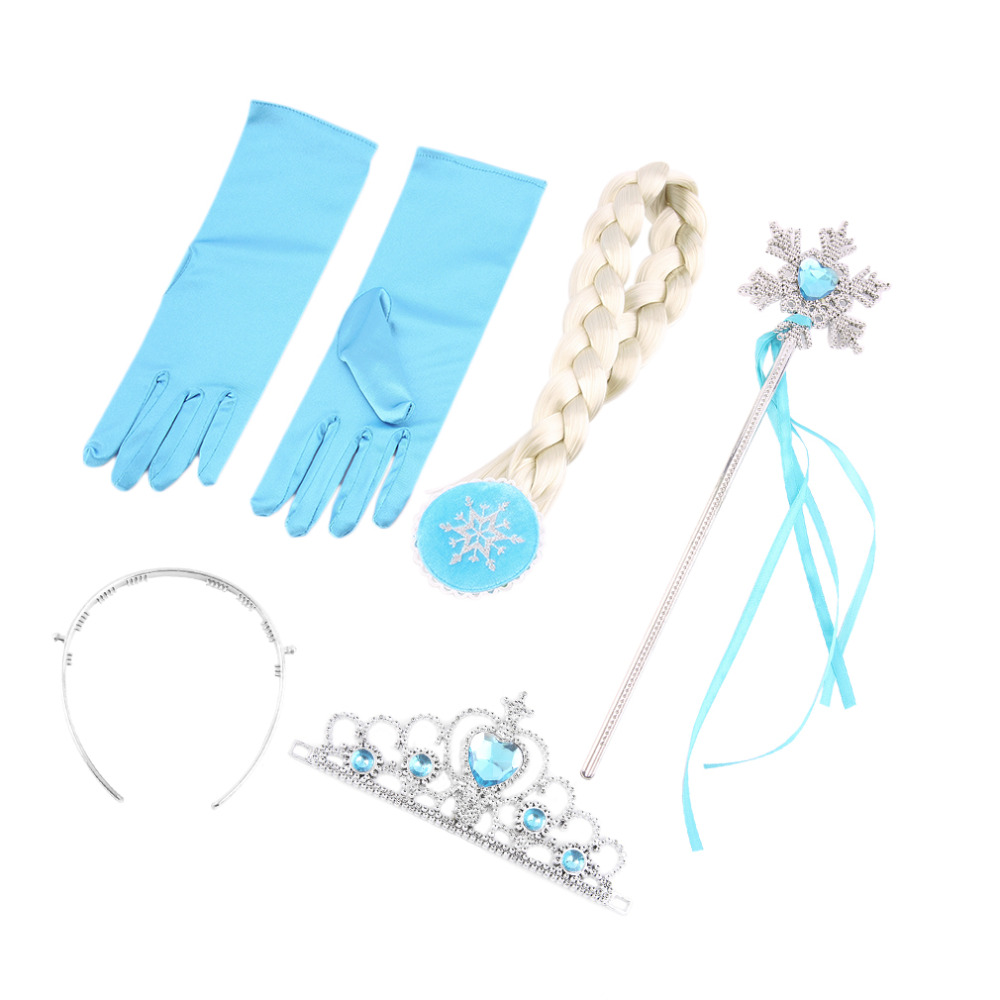 Гаджет  4Pcs/set Princess Elsa Anna Hair Accessories Crown Wig Magic Wand Glove for Kids Party Cheap And Hot None Одежда и аксессуары