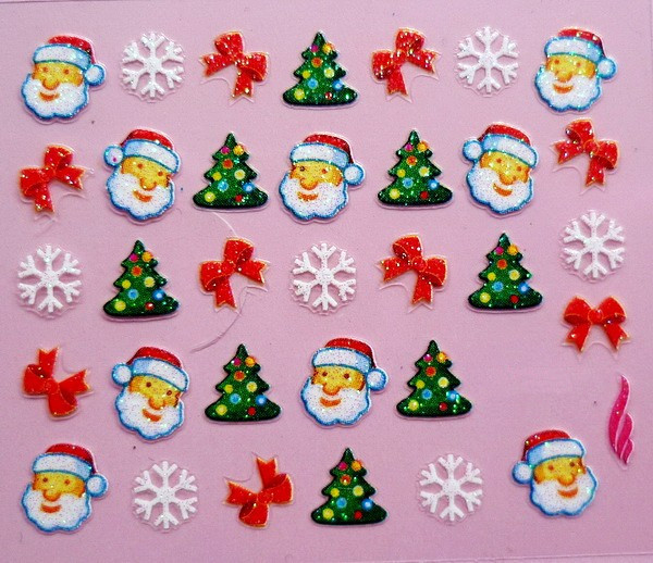 Min.order is $5 Nail 3D Art Stickers Decal Christmas Santa Xmas Colorful Tree Snow Flakes Design Foils Stamping Tools(China (Mainland))