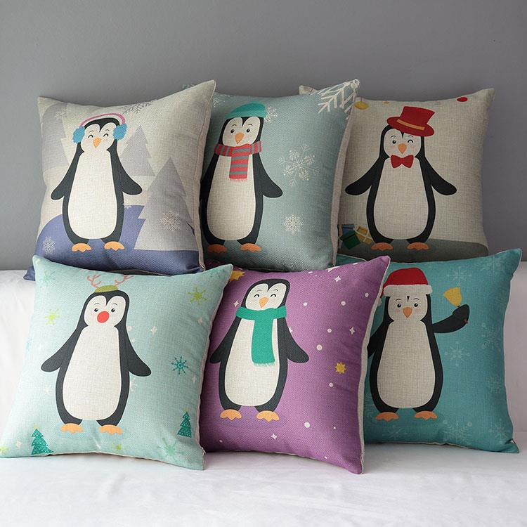 Free Shipping Throw Pillow Hot Sale1Pcs New Home Decor Sofa Pillows Fashion Cotton Linen Purple penguin Christmas Car Cushion