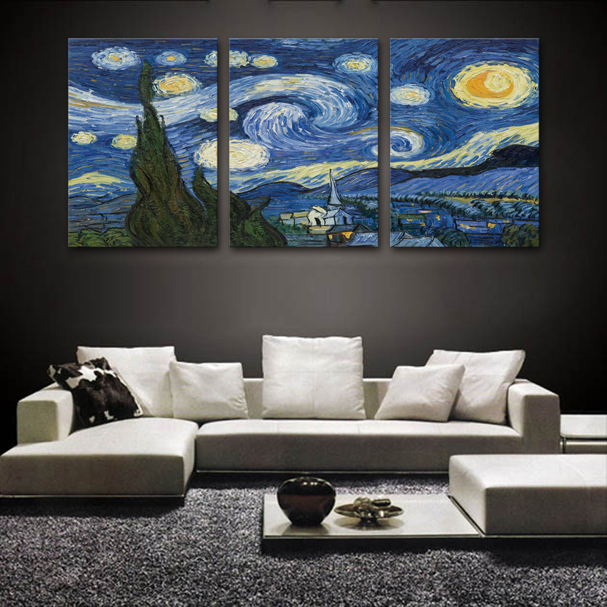 Starry night printed on canvas Vincent Willem Van Gogh 3 panels free shipping home decor painting wall art No Frame(China (Mainland))
