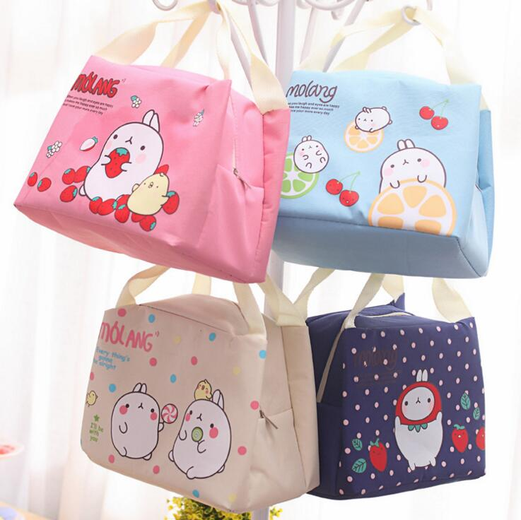 Cute Molang Rabbit Canvas Lunch Thermal Bag Portable Insulated Food Picnic Bags Cooler Lunch Box Bag Tote(China (Mainland))